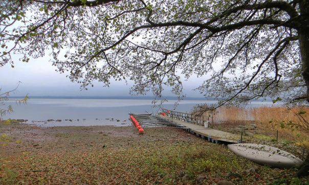 Lågt vattenstånd vid Björks brygga i Västra Ringsjön. Foto: Birgitta Bengtsson